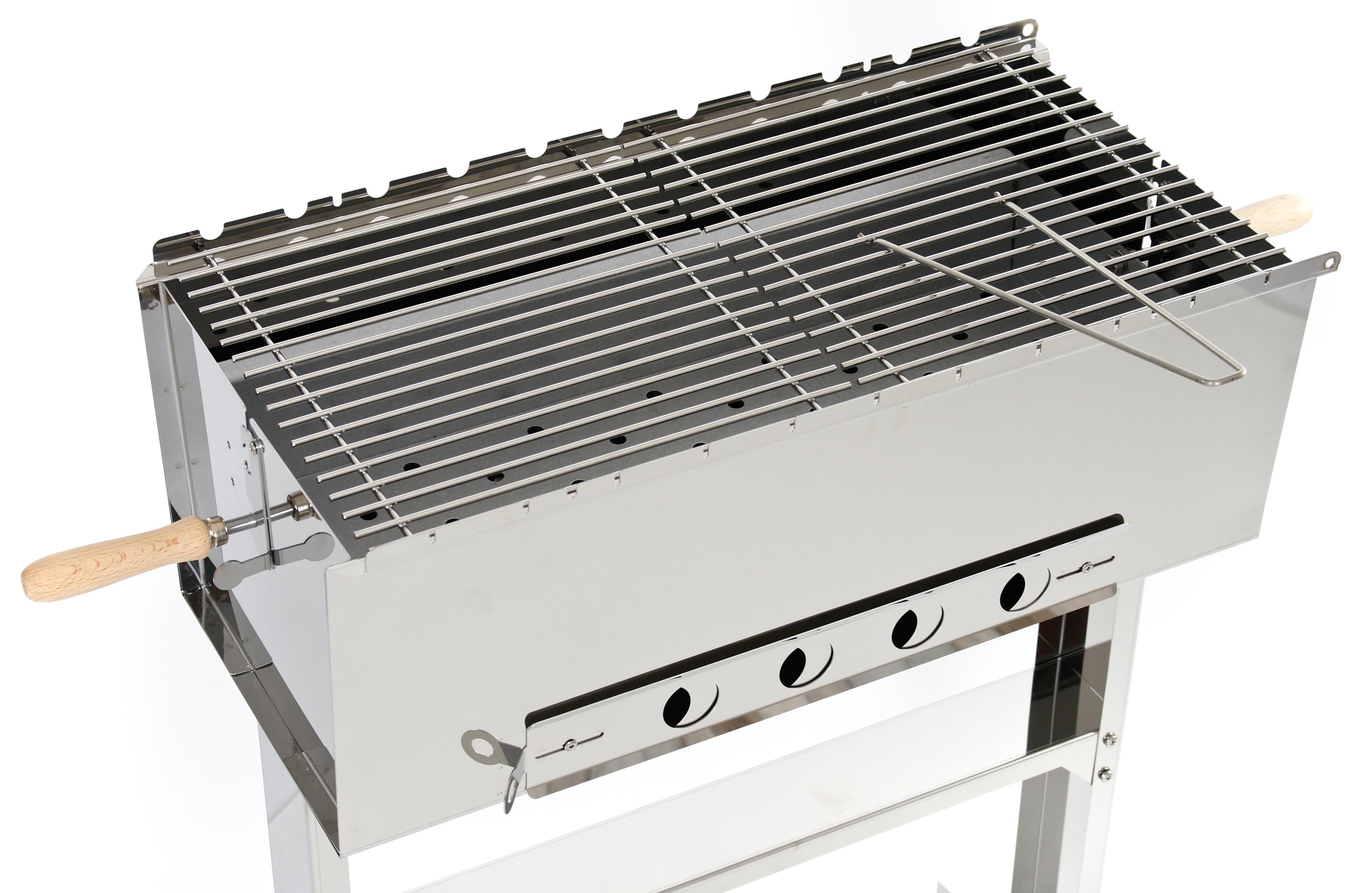 baikal premium edelstahl schaschlik grill mit ablage mangal ebay. Black Bedroom Furniture Sets. Home Design Ideas